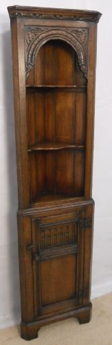 Oak, Small Narrow, Carved Double Corner Cupboard